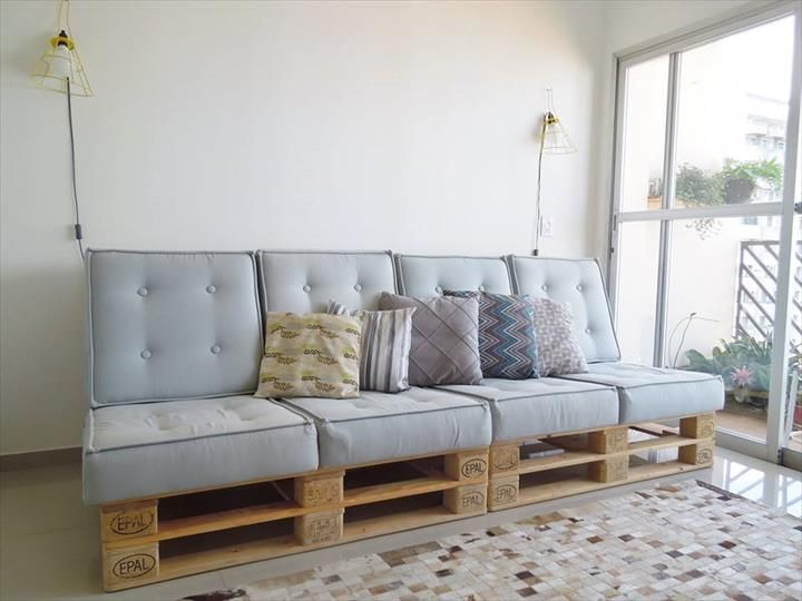 Build Pallet Sofa With Cushion Diy Tutorial Diy Furniture From
