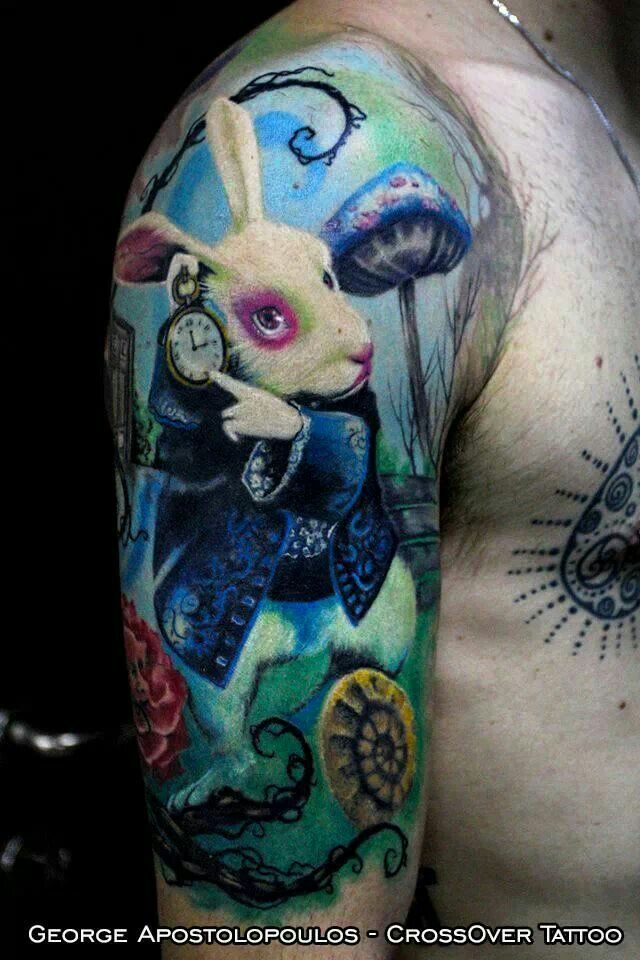 Alice in wonderland White Rabbit tattoo. Arm tattoo ...