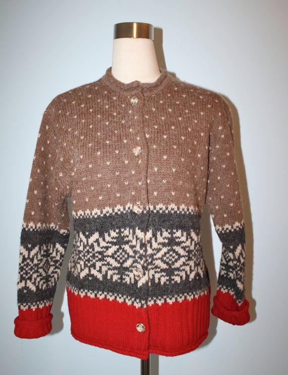 Vintage Wool ALPACA Faire Isle Sweater / Eddie Bauer NORDIC Cardigan Sweater / Christmas Sweater / Size Medium on Etsy, $45.00