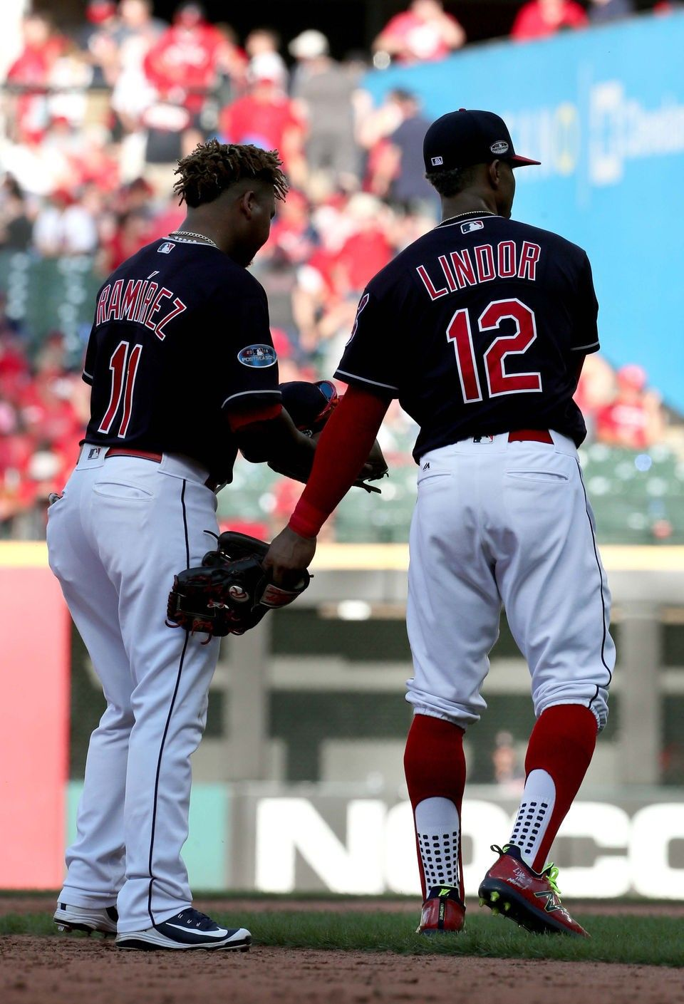 Cleveland Indians Francisco Lindor and Jose Ramirez during