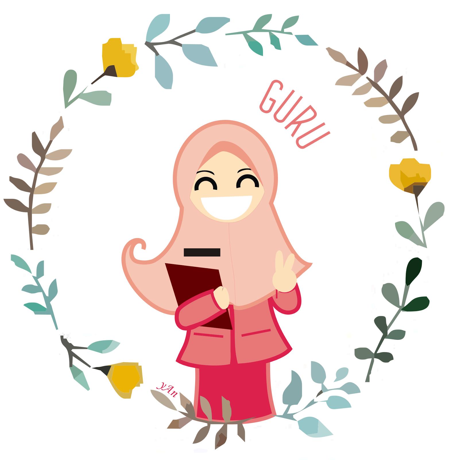 Gambar Mewarnai Gambar Profesi Guru Kartun Muslimah Di Rebanas Kartun Poster Desain Grafis Animasi