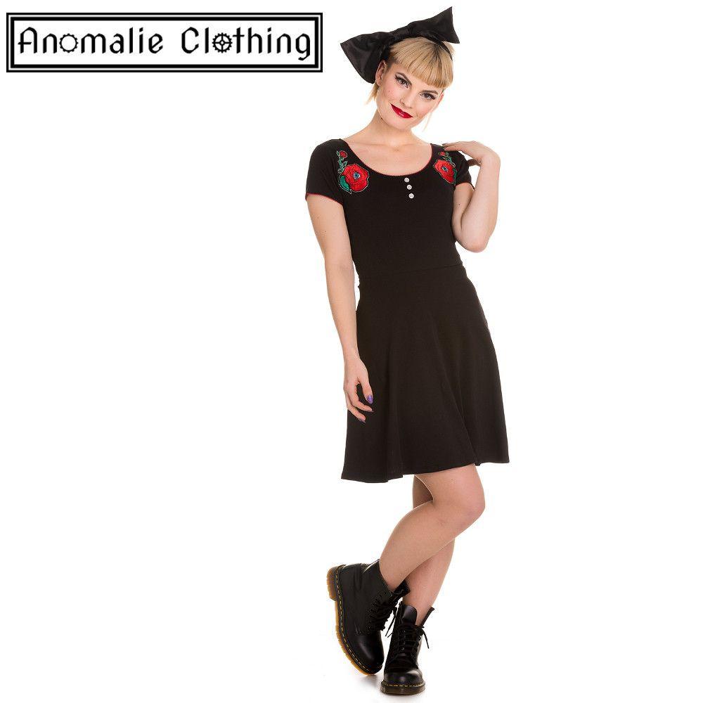 Black u red creepy rose dress discontinued hell bunny anomalie