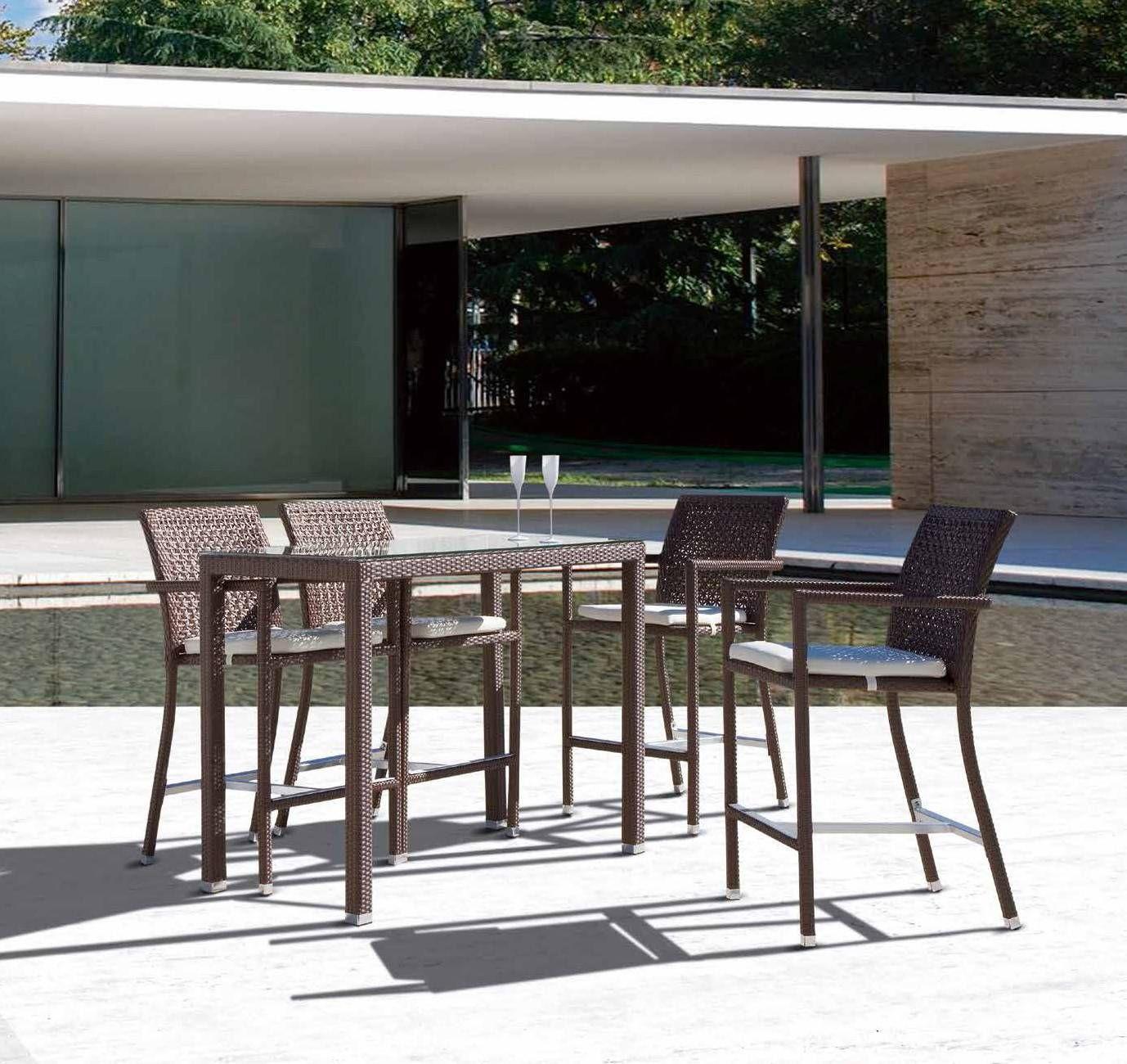 Conjunto comedor mesa alta exterior fabricado en estructura de aluminio y ratan sintetico plano - Mesa alta comedor ...