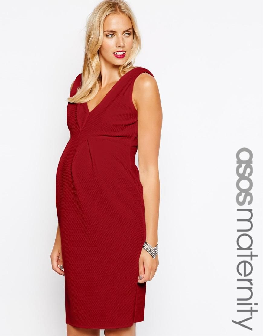 ASOS Maternity | ASOS Maternity Pencil Dress In Texture With Double V Neck at ASOS