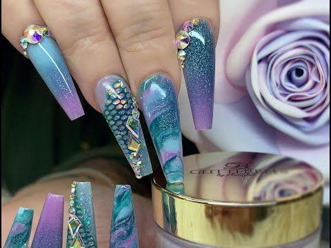 Mermaid Nails||All Acrylic|| Full Set || Glitterbels Colour Acrylic||NotPolish||Net imprint acrylic