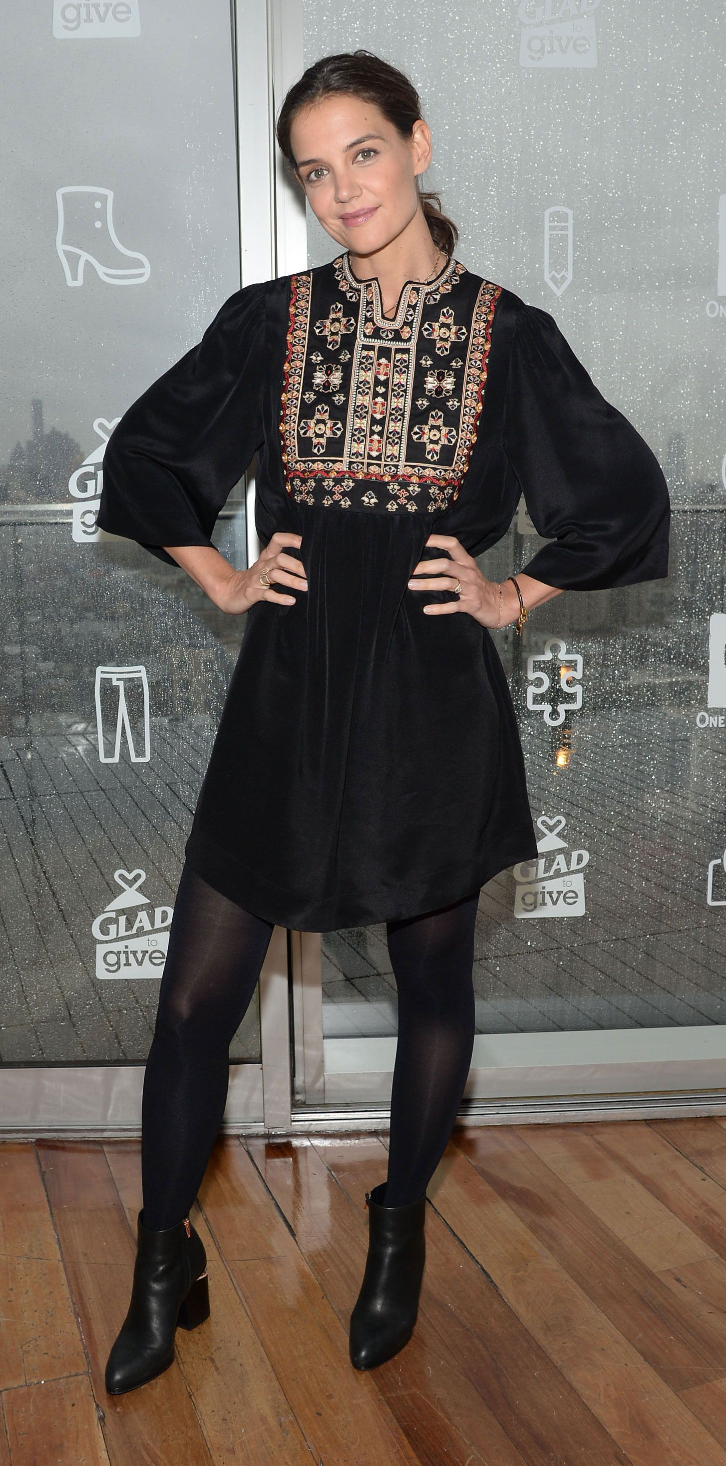 2cc6c50bb 39 Chic Celebrity Looks That Have Us Saying Yes to Tights - Katie Holmes