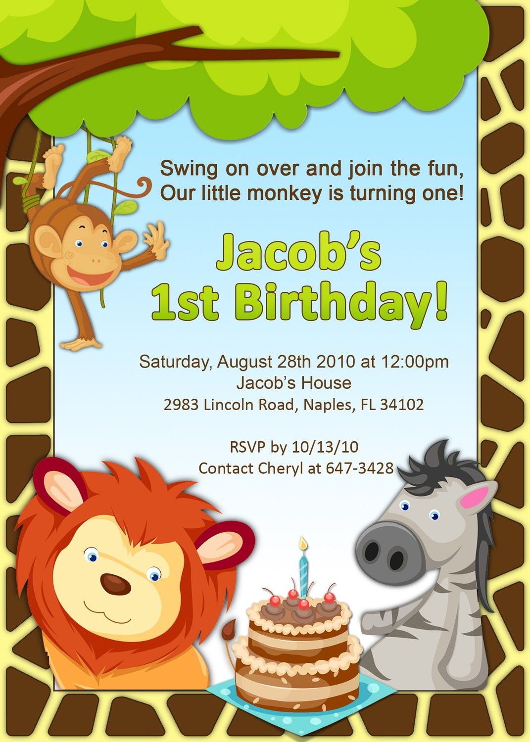 Jungle Themed Birthday Invitation by AmandaCreation on Etsy Diy