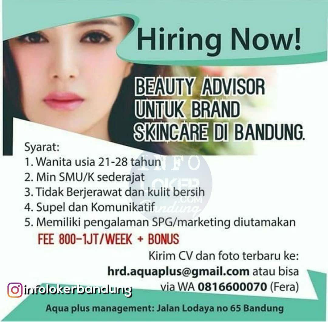 Lowongan Kerja Beauty Advisor Aqua Plus Bandung November 2018
