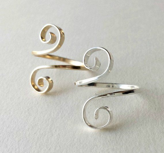 Hammered Spiral Ring, Adjustable Swirl Ring, Minimalist