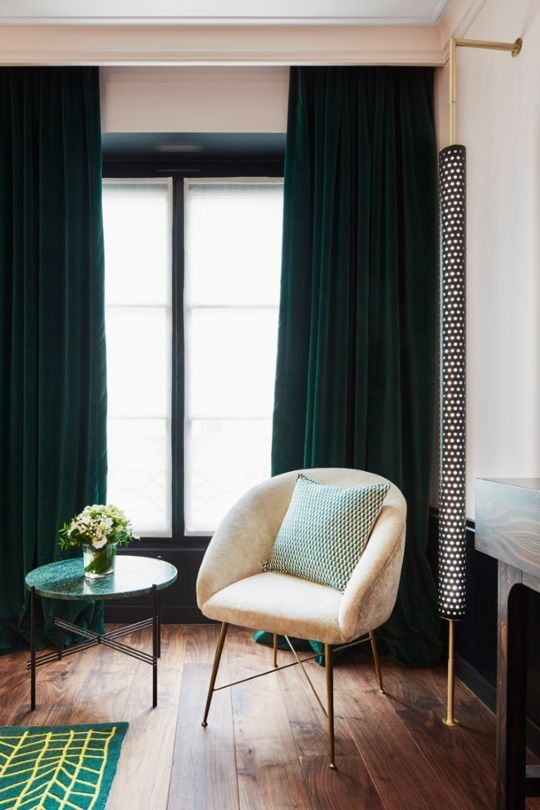 Blush Pink Forest Green Velvet Curtains Timeless Feminine Chic Le Roch Hotel And Spa Paris Sarah Lavoine