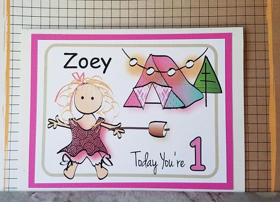 Glamping Birthday Card For Little Girl Personalized 1st Birthday