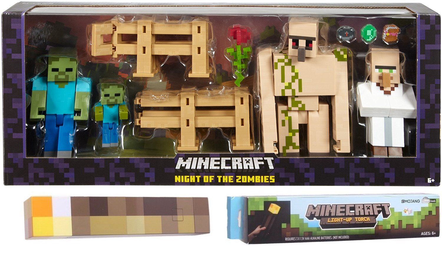 Minecraft action figure survival pack characters night of the