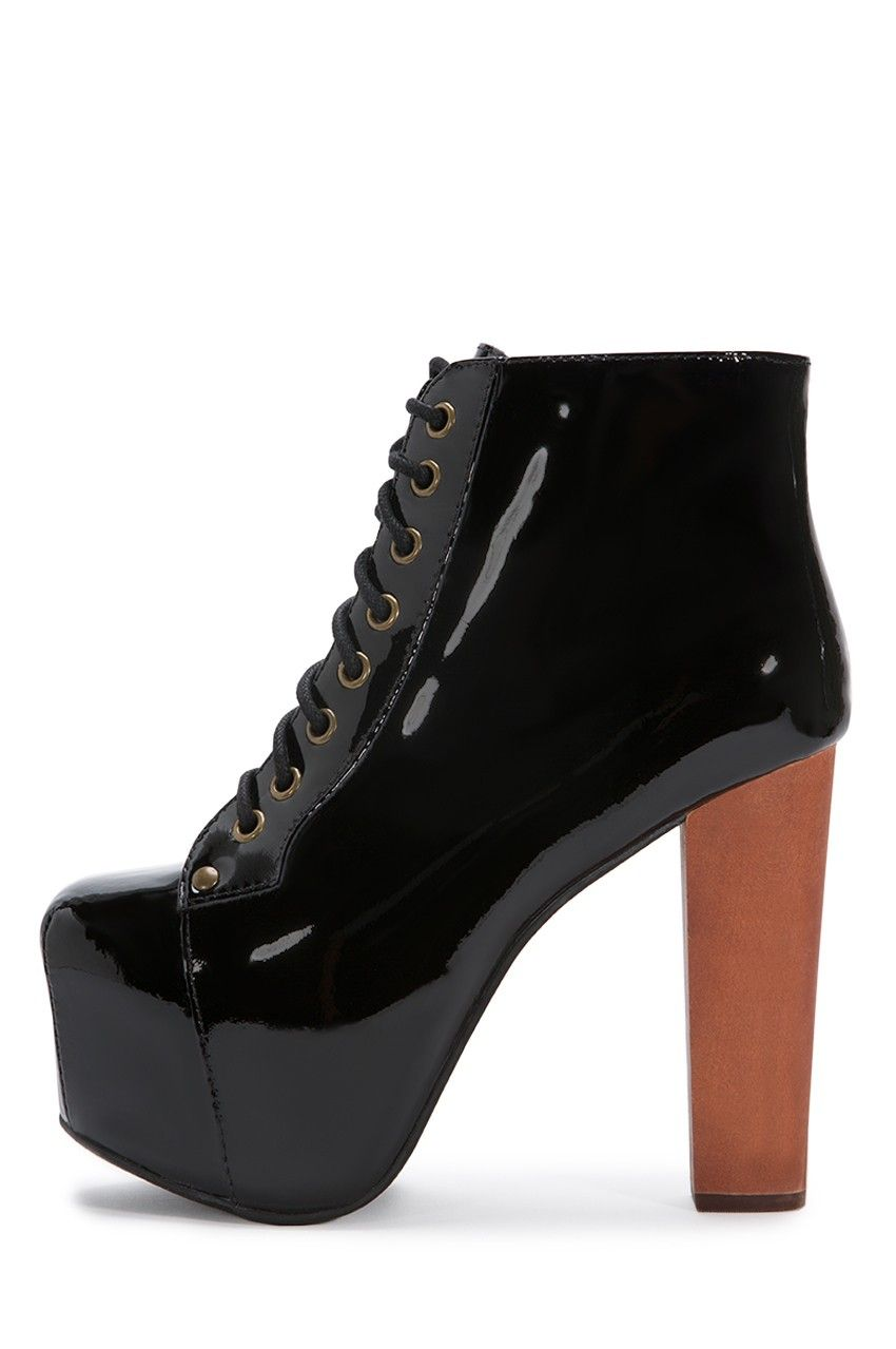 Jeffrey Campbell Shoes LITA The Vault in Black Patent