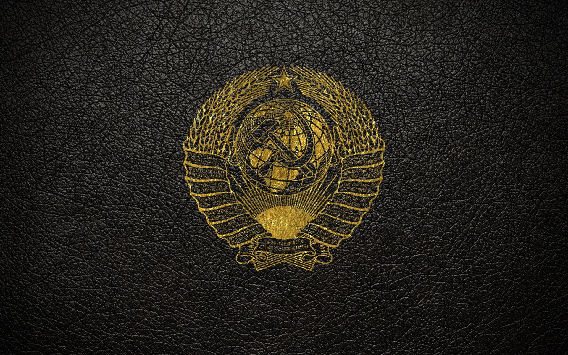 Leather Ussr Gold Coat Of Arms The Coat Of Arms Of The Ussr 1080p Wallpaper Hdwallpaper Desktop Coat Of Arms Hd Wallpaper Soviet Art Hammer and sickle hd wallpaper