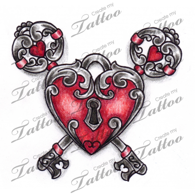 Marketplace Tattoo Vintage Keys Heart Locket Tattoo 6937 Createmytattoo Com Vintage Key