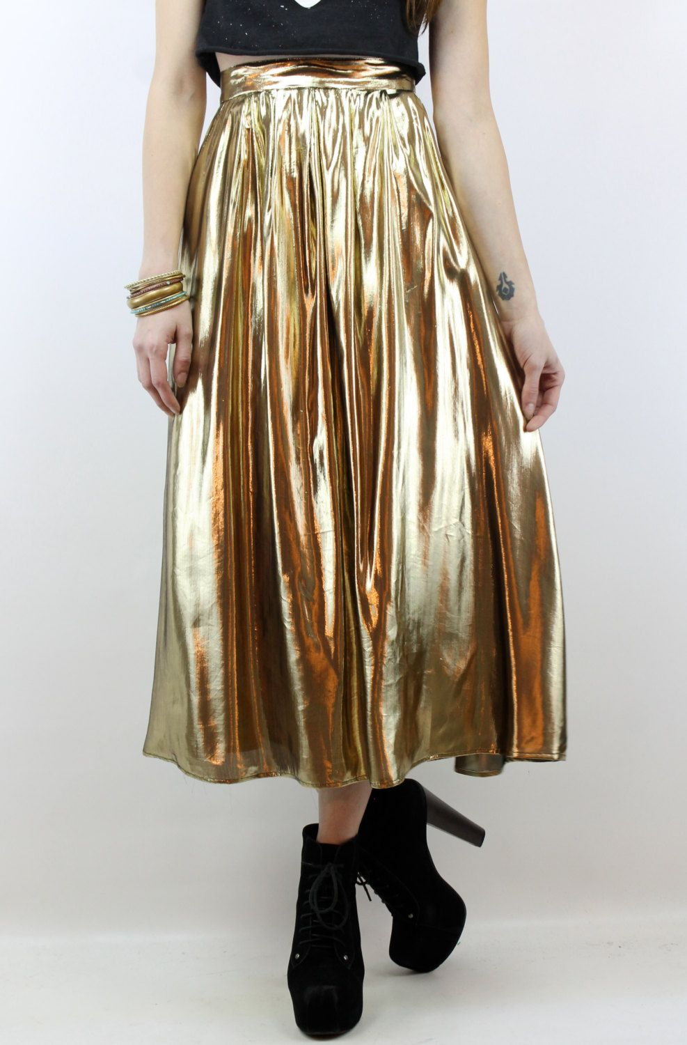 Vintage 80s 90s Gold Lame High Waisted Skirt Maxi Skirt XS High ...
