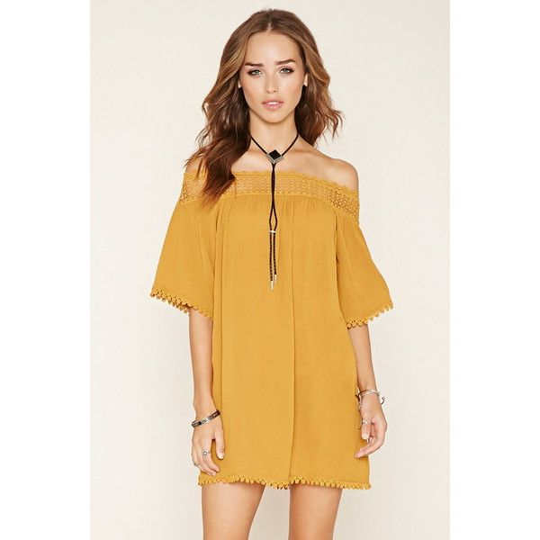 Forever 21 Women's  Off-the-Shoulder Mini Dress ($23) ❤ liked on Polyvore featuring dresses, off the shoulder short dress, off the shoulder mini dress, full length dress, sleeve dress and crinkle dress