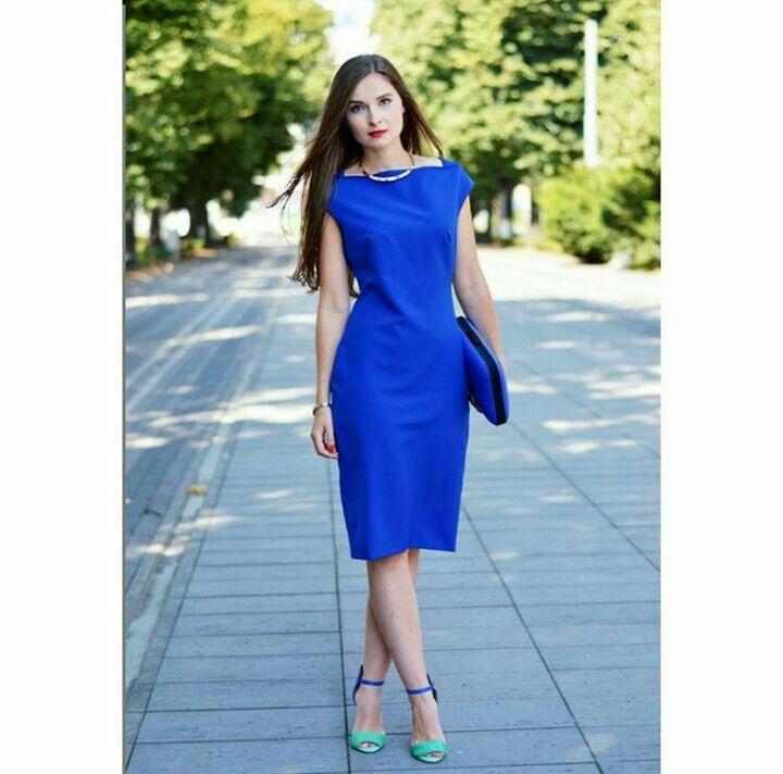 Vestido Azul Rey Recto Hermoso Mi Estilo Vestidos