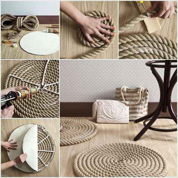 DIY Rope Rug Diy Crafts Craft Ideas Easy Idea Home Sewing For The Crafty Decor Decorations