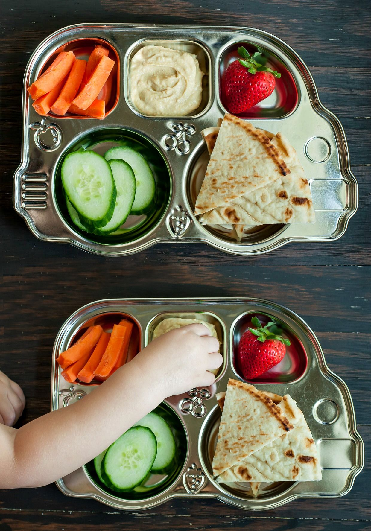 Deconstructed Toddler Snack Plate with Hummus + Veggies -- this has been so so helpful for getting my kiddo to try new things and eat more veggies!