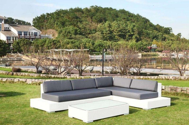 Salon de jardin résine tressée - MELOEE BLANC | Exterieur ...