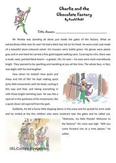Roald Dahl Extract Charlie And The Chocolate Factory
