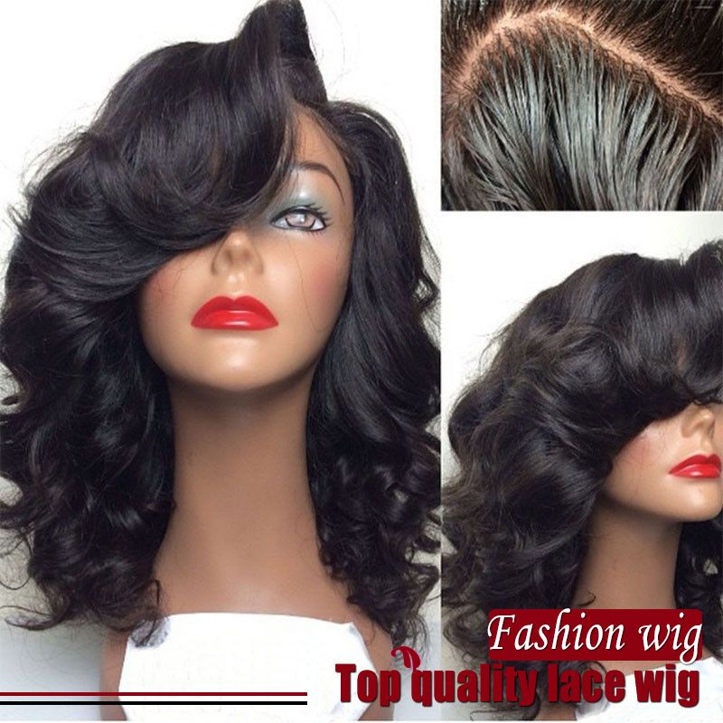 (Buy here: http://appdeal.ru/2d7v ) High Quality Natural Hairline off Black Color Body Wavy Synthetic Lace Front Wig with Bangs for African American women for just US $45.00