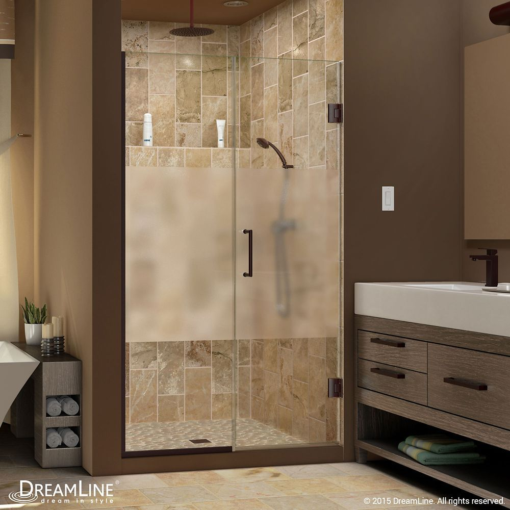 Unidoor Plus 53 1 2 To 54 Inch X 72 Inch Semi Frameless Hinged Shower Door With Half Frosted Glass In Oil Rubbed Bronze Shower Doors Frameless Shower Doors Frameless Shower