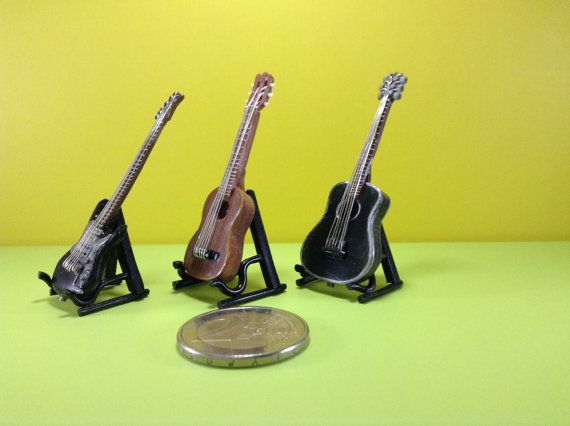 Realistic miniatures musical instrument: guitars by WizzyArtCreation