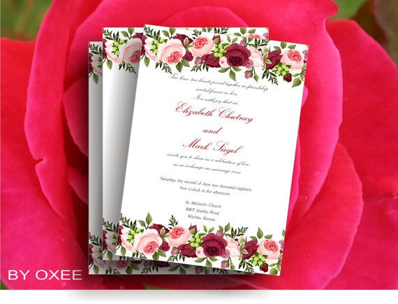Printable Wedding Invitation Template Roses Floral Motif Di Oxee