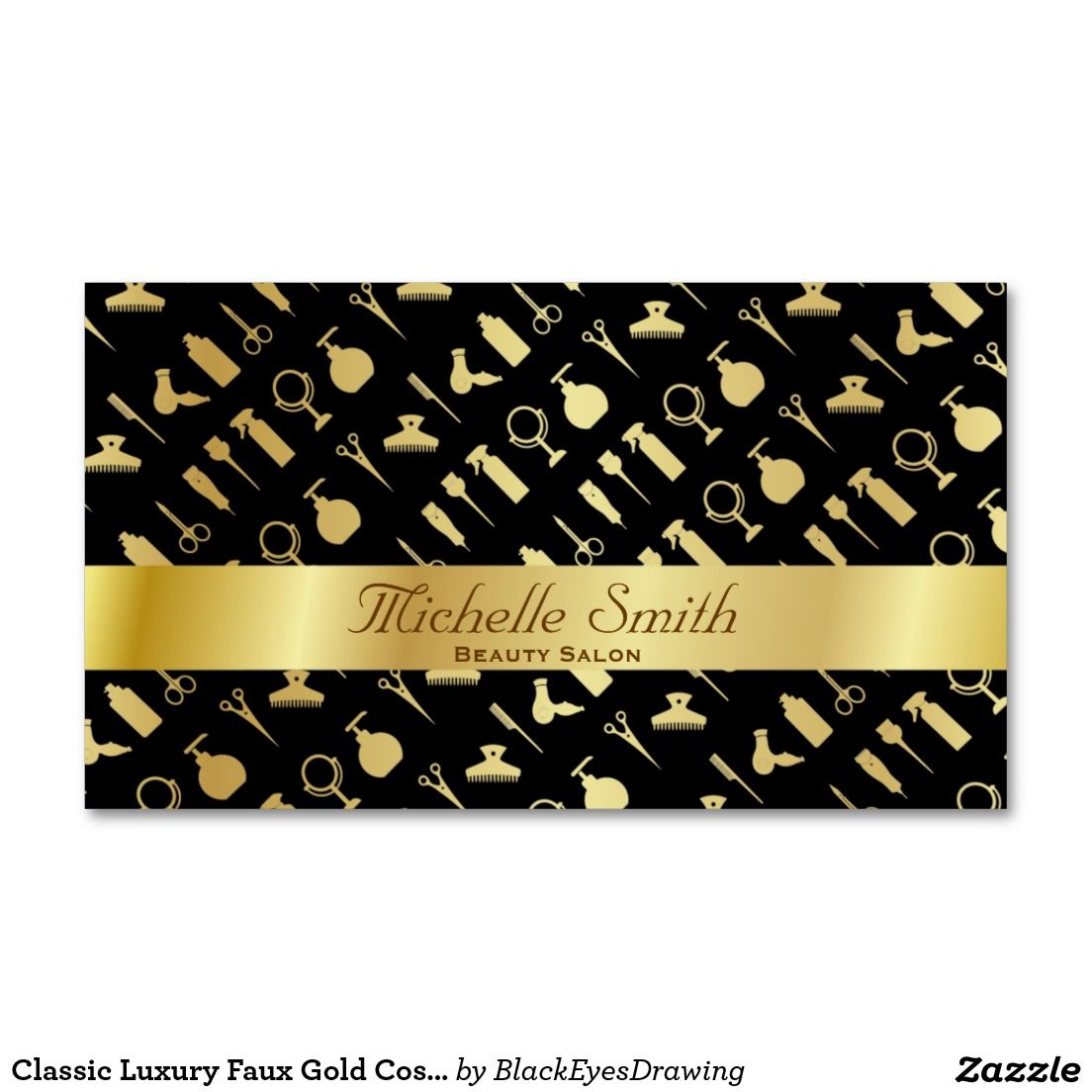 Classic Luxury Faux Gold Cosmetics Beauty Salon Business Card ...