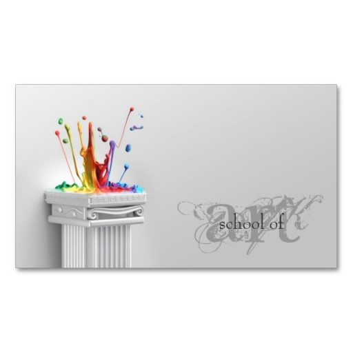 simple grey school of art art teacher card