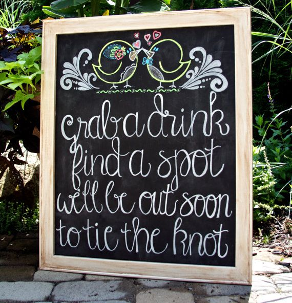 Outdoor Wedding Seating Ideas: Rustic Distressed Chalkboard Sign