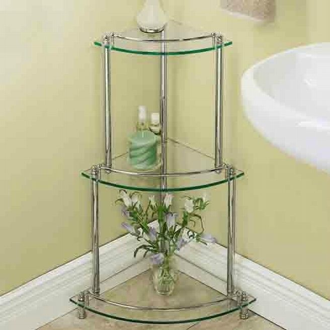 Elegant corner glass shelves for bathroom home diy - Bathroom glass corner shelves shower ...