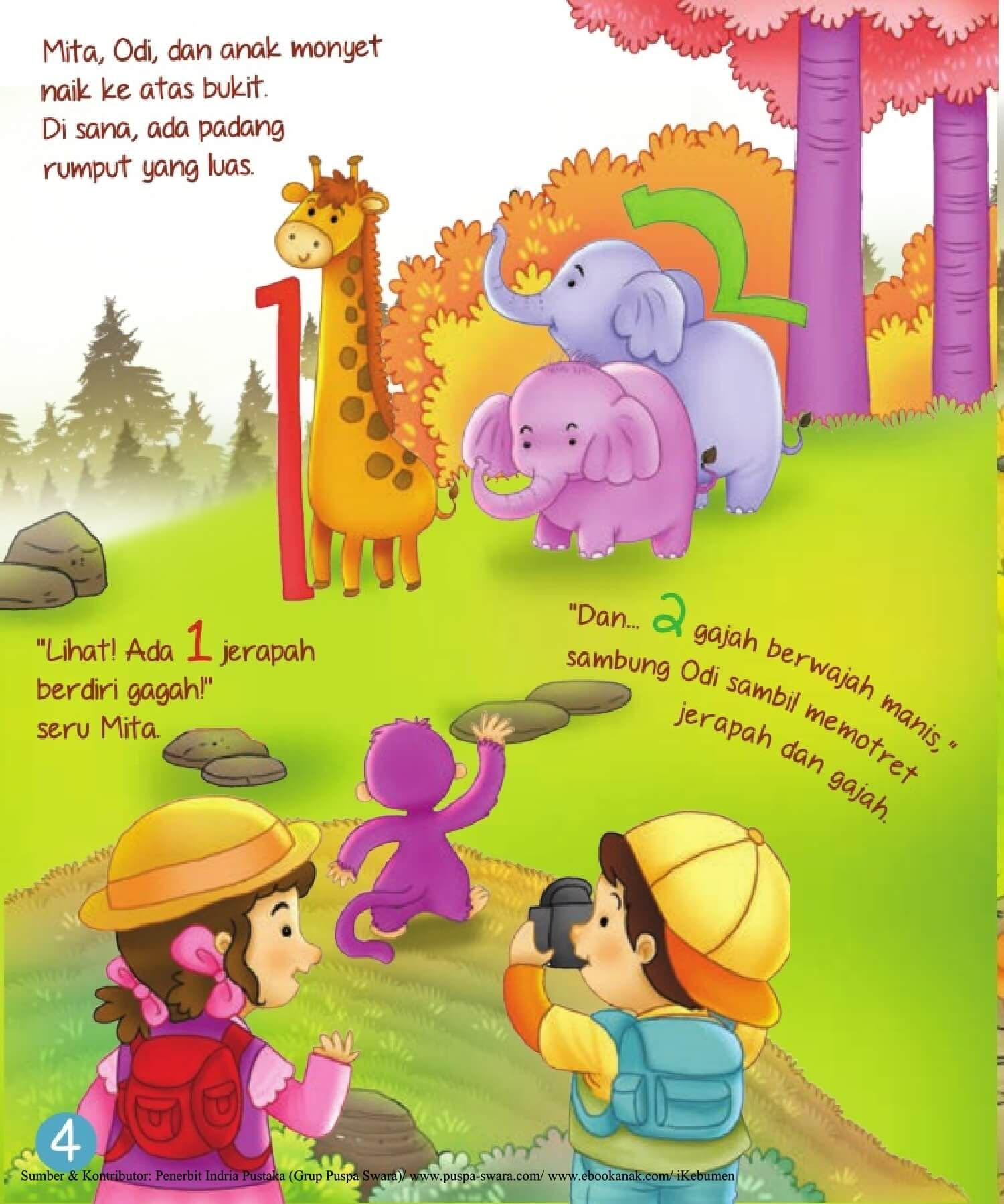 Ebook 2 In 1 Dongeng Dan Aktivitas Bukit Angka Jerapah Dan Gajah 6 Ebook Anak Anak Jerapah Buku Bayi