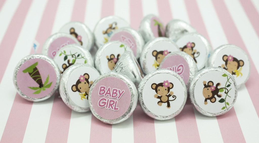 Girl Baby Shower Monkey Theme Stickers For Hershey Kisses Set Of