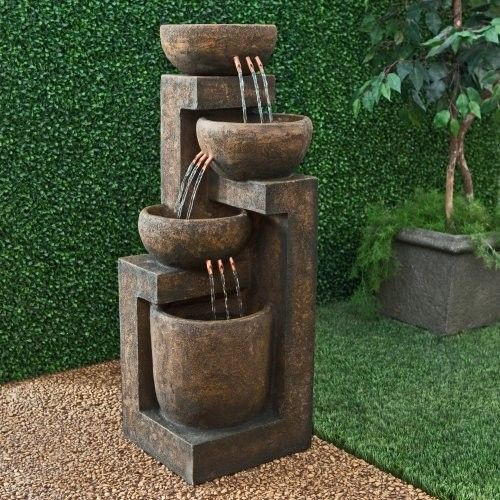 Alpine 3 Tier Cascading Pot Indoor/Outdoor Floor Fountain Contemporary  Outdoor Fountains