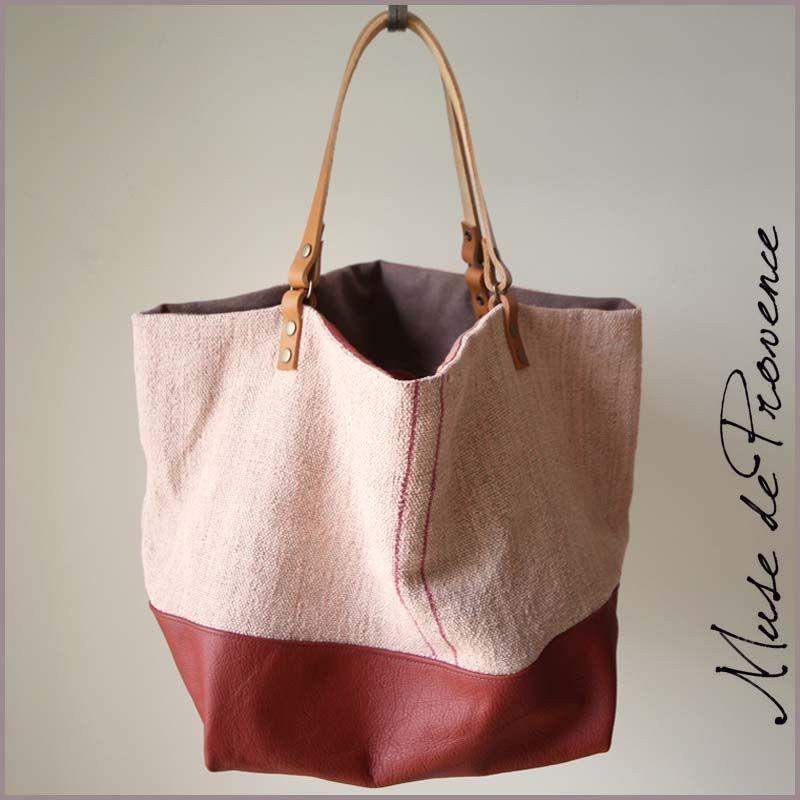 sac cabas fait main en cuir et chanvre 3