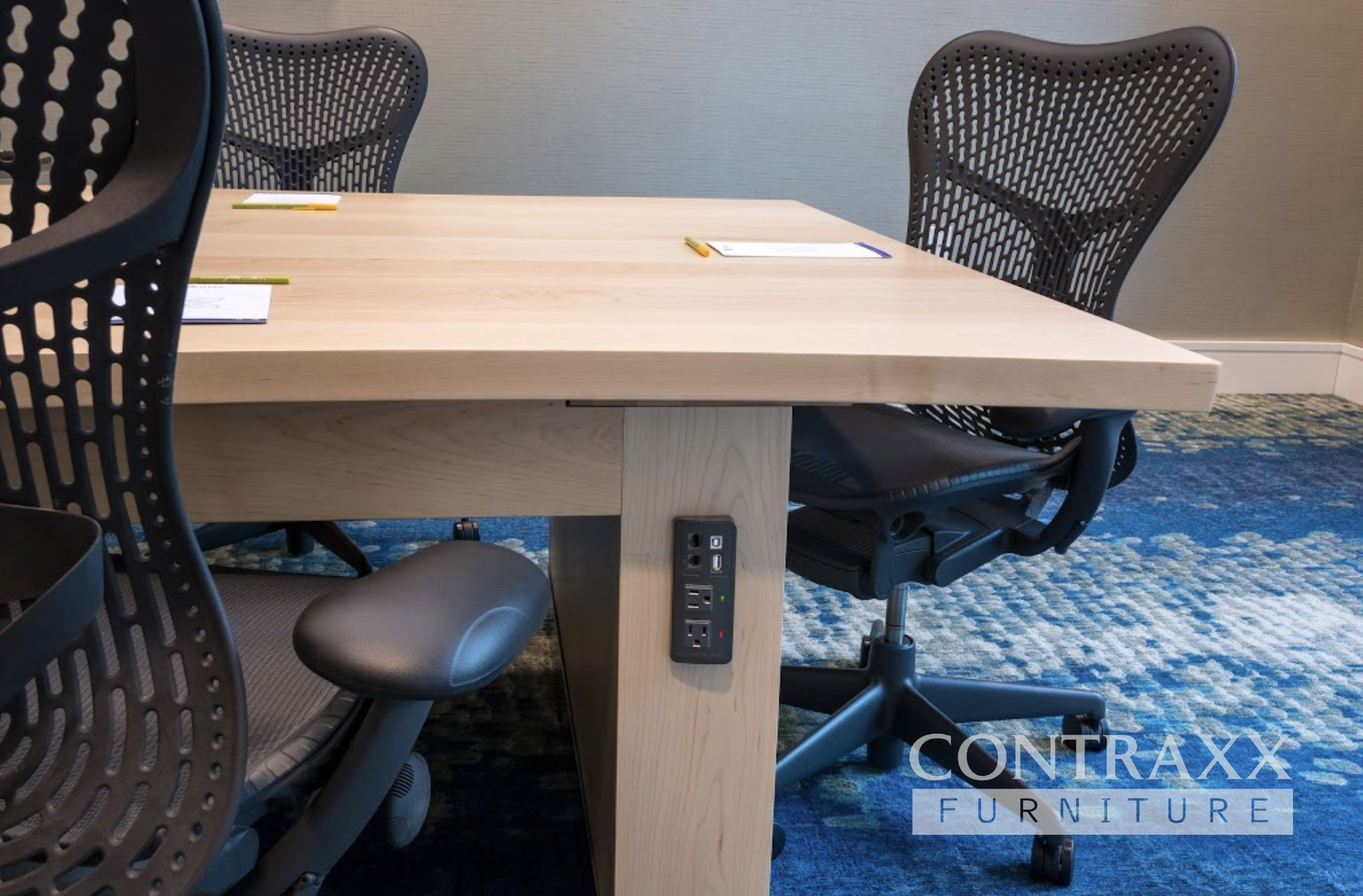 Clear Maple Boardroom Table with Connectivity, Hilton