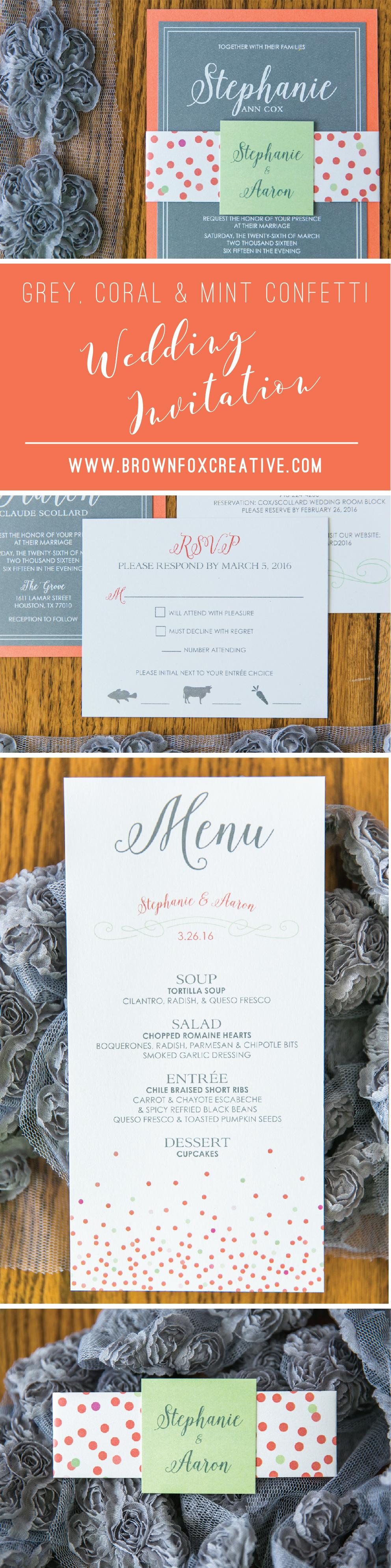 Coral Mint Grey Confetti Dots Fun Playful Layered Wedding