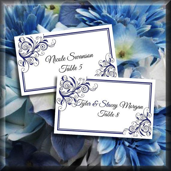 Navy Blue Corner Swirls Printable Tented Place Cards by iDoDiY  sc 1 st  Pinterest & Navy Blue Corner Swirls Printable Tented Place Cards Editable ...