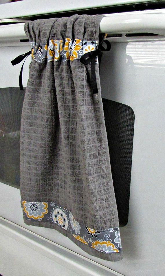 Tie Top Towels Gray Cotton Kitchen Towel Accented With Yellow