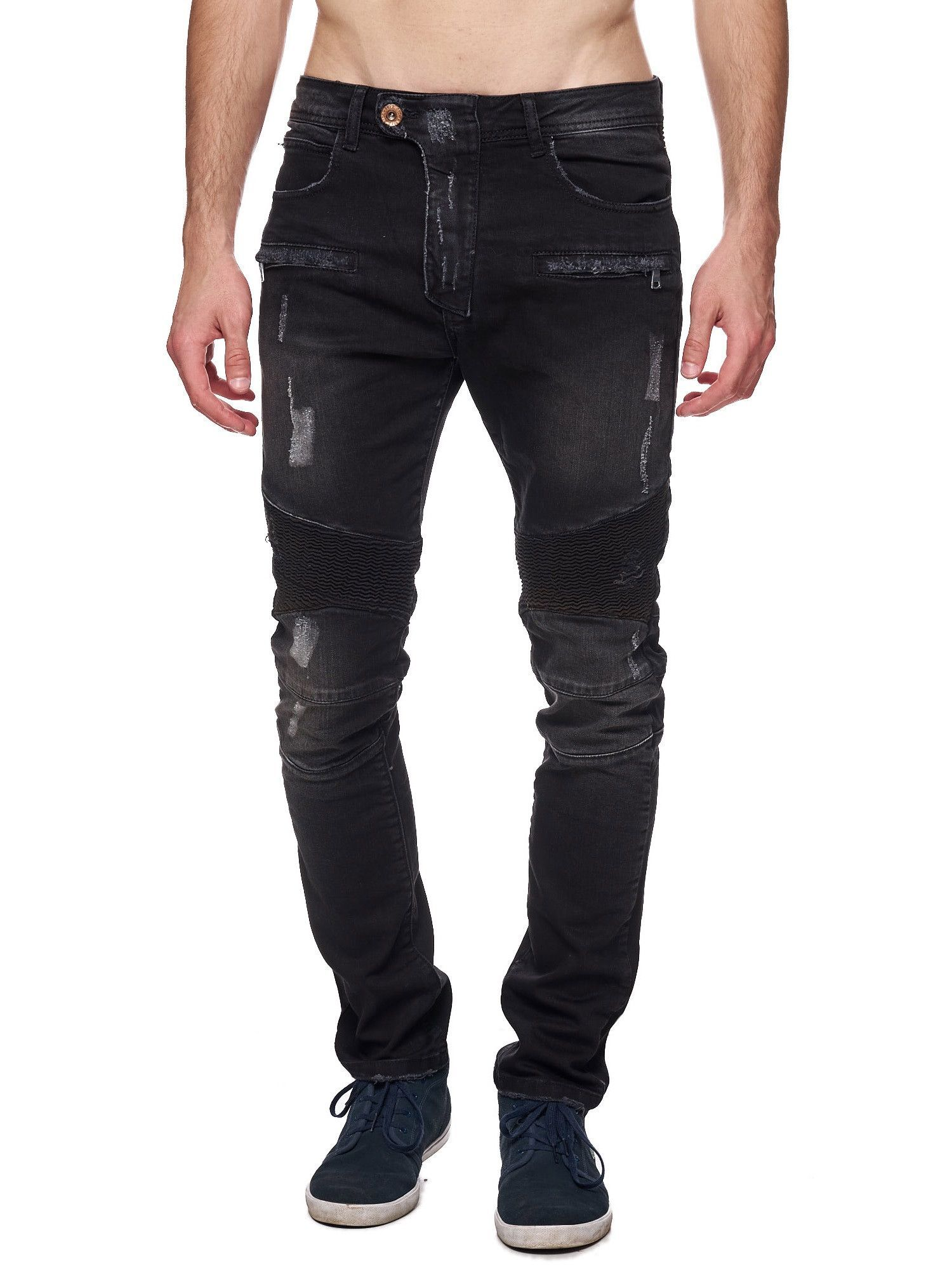 Slim Fit Washed Black Biker Distressed Jeans PLEASE NOTE THE LENGTH IS 32 (FOR ALL WAIST SIZES) size : W x L (Waist x Length) -100% Cotton -Zipper Fly -SLIM FIT