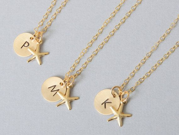 Personalized Gold Starfish Necklace 14k Gold by CustomBrites