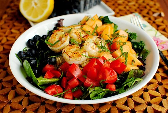 Fruit & Grain Summer Salad with greens, fresh herbs, quinoa, basil dressing, jumbo shrimp, berries & more!  Yummy!!!