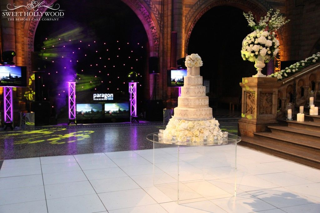 Five Tier Eggless Wedding Cake Featuring Champagne Damask Royal Icing Detailing The Natural History Museum