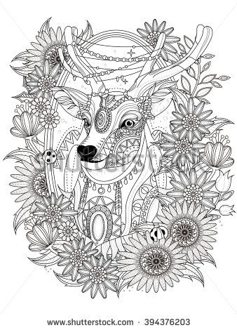 gorgeous deer with floral wreath - adult coloring page ...