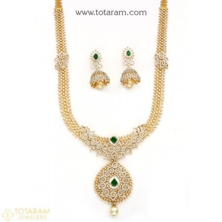18 Karat Gold '2 in 1' Diamond Long Necklace & Drop Earrings Set with South Sea Pearls & Color Stones - 235-DS757 - Buy this Latest Indian Gold Jewelry Design in 153.950 Grams for a low price of $23,427.25