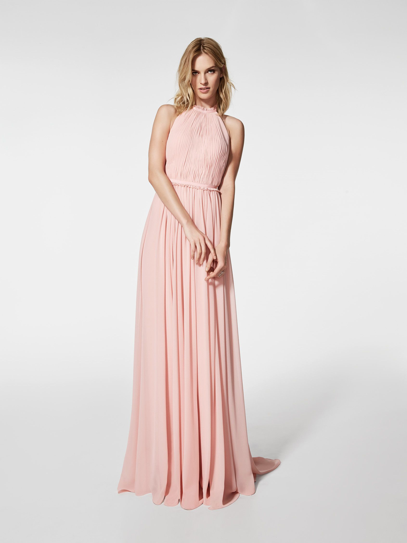 Vestido de fiesta (modelo GRAMOE) de color rosa pálido con un escot ...
