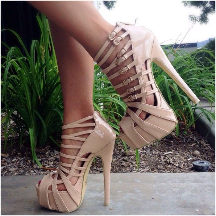 Nude Strappy Buckle Peep Toe Platform Heels Patent - Heels | I ...